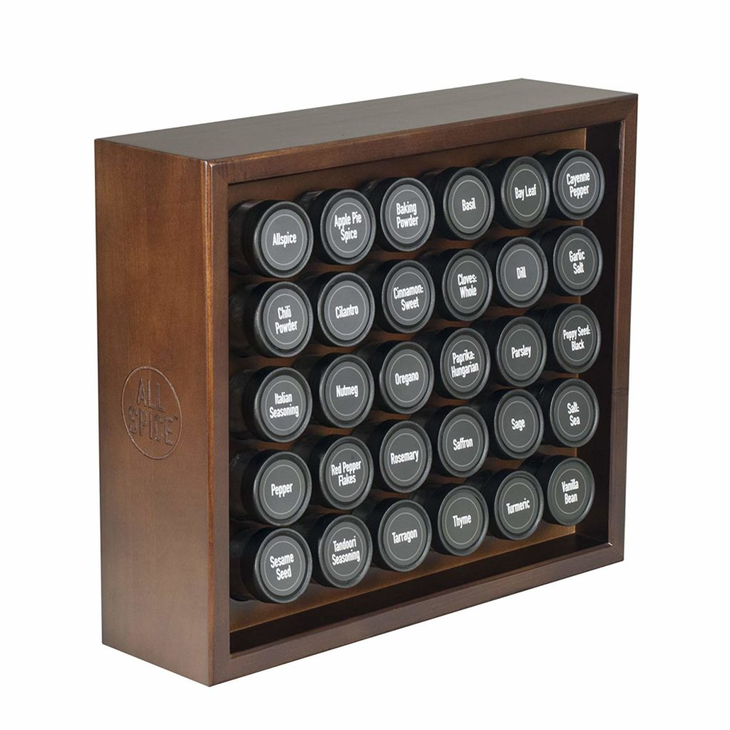AllSpice Wooden Spice Racks, Includes 30 4oz Jars- Walnut